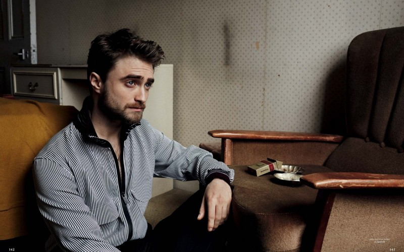 Daniel Radcliffe relaxes in Jil Sander.