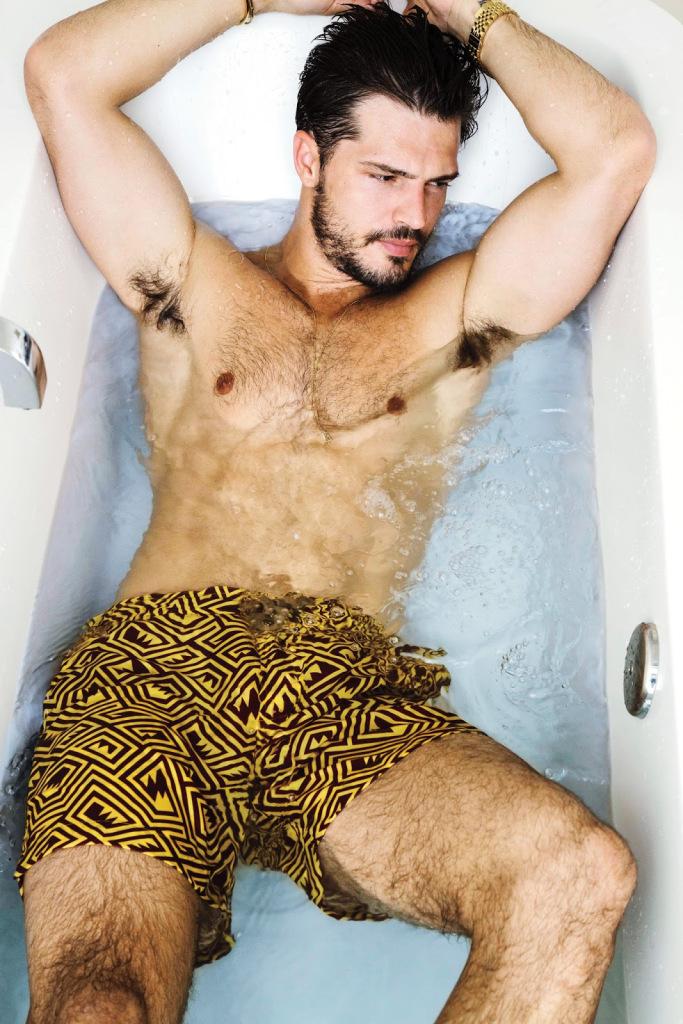 Diego wears swim shorts Thorsun.