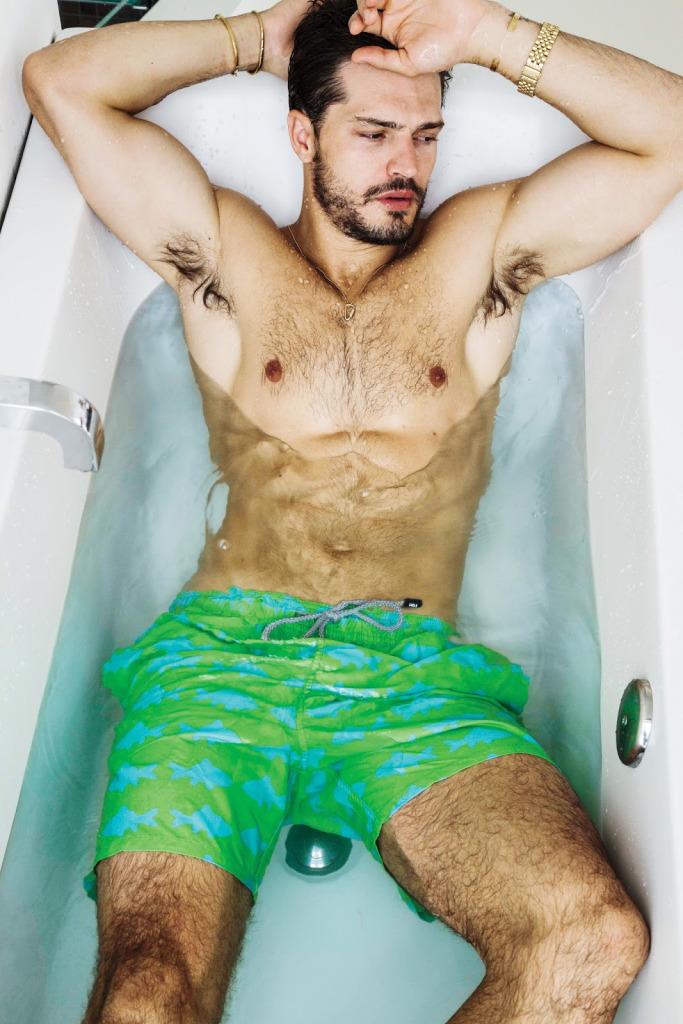 Diego wears swim shorts Tom & Teddy.