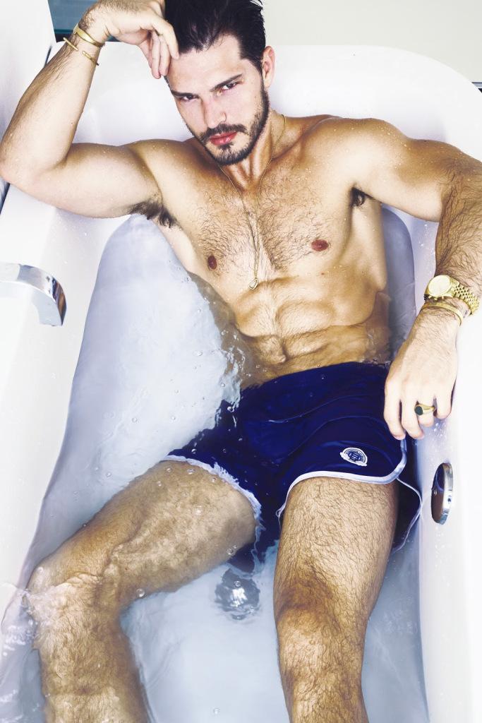 Diego wears swim shorts Robinson les Bains.
