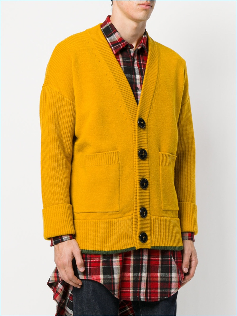 Dsquared2-Yellow-Oversize-Button-Cardigan