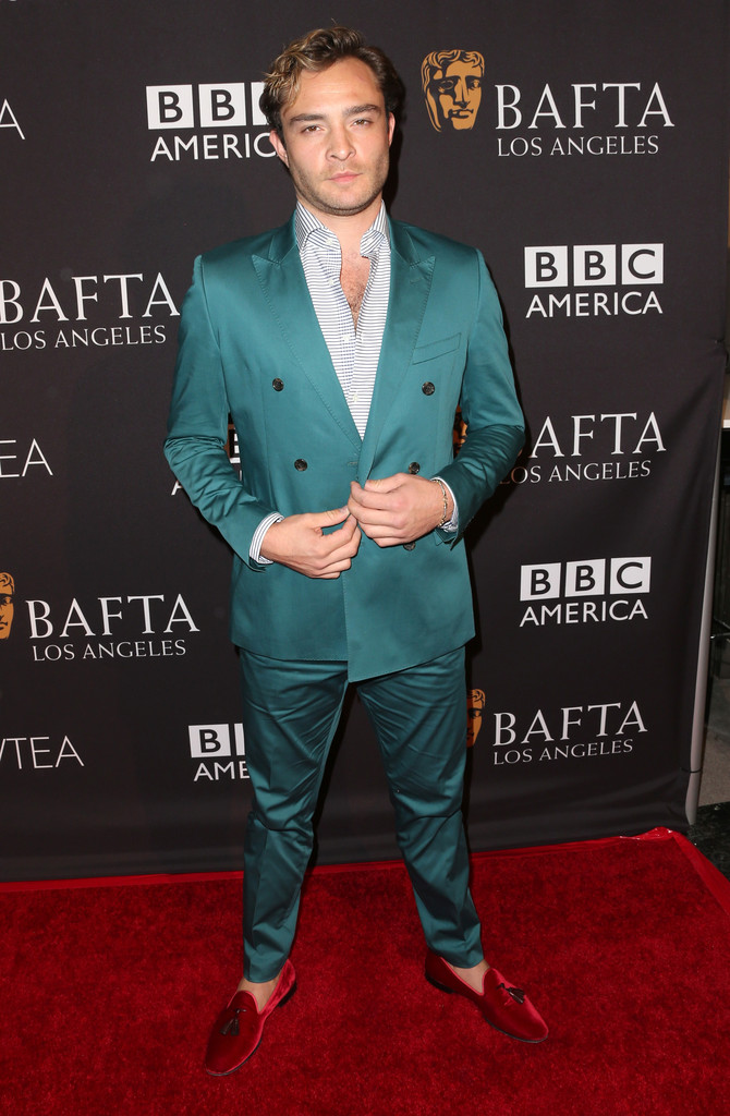 Ed Westwick Goes Dandy in Green Double-Breasted Suit