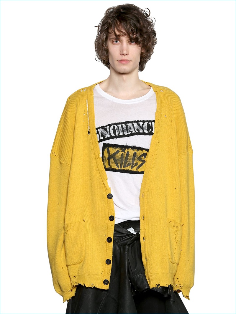 Faith Connexion Yellow Oversize Ripped Wool Cardigan