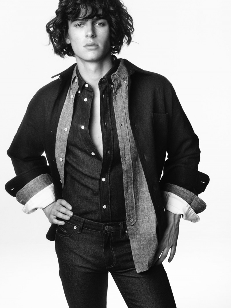 Joseph wears jacket Schnayderman's, denim shirts Acne Studios and L'Homme Rouge and jeans Acne Studios.