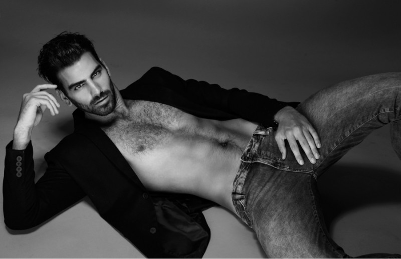 Nyle wears blazer AllSaints and jeans Topman.