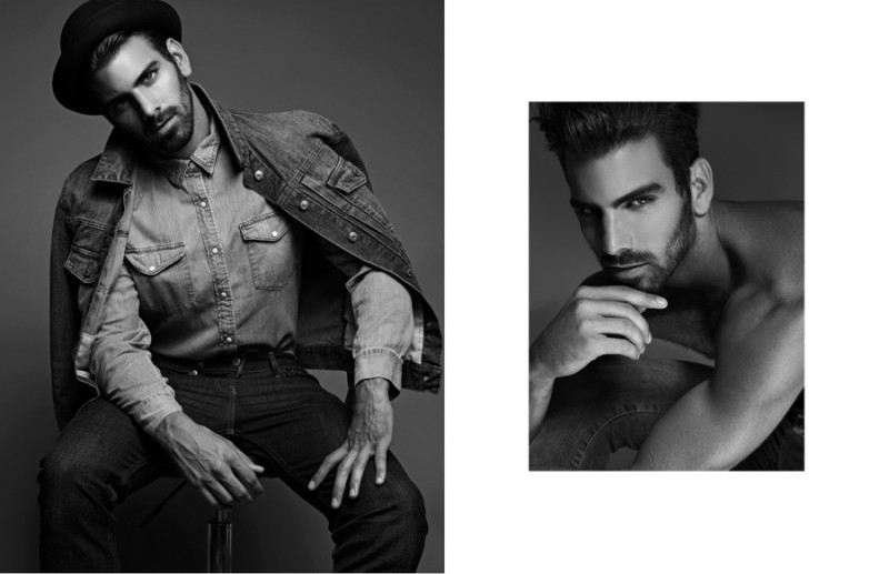 Left: Nyle wears denim jacket 7 For All Mankind, denim shirt Ralph Lauren, jeans Levi's and hat Patricia Field. Right: Nyle wears jeans Topman.