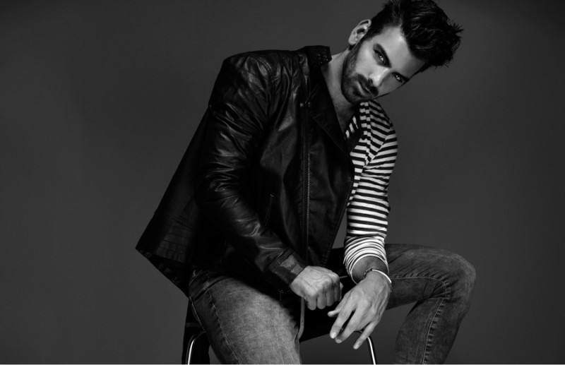 Nyle wears shirt H&M, bracelet ASOS, jacket and jeans Topman.