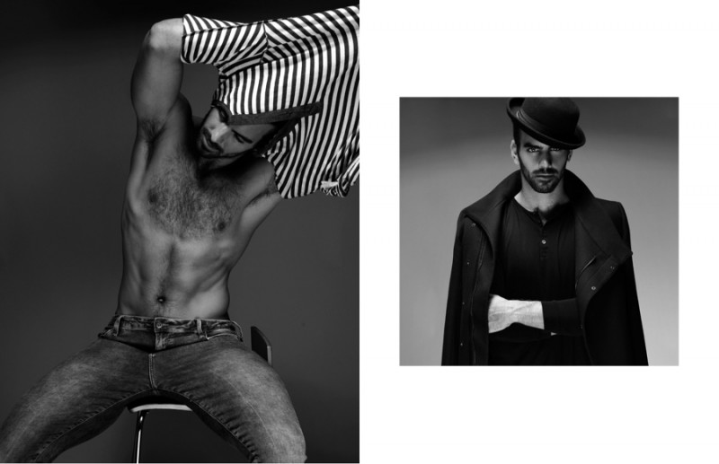 Left: Nyle wears shirt H&M and jeans Topman. Right: Nyle wears hat Patricia Field, shirt Levi's and coat Zara.