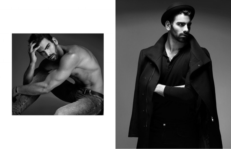 Left: Nyle wears jeans Topman and belt Calvin Klein. Right: Nyle wears hat Patricia Field, shirt Levi's, coat Zara and jeans Rag & Bone.
