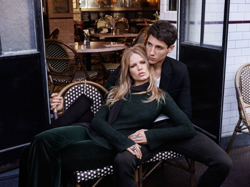 Nicolas Ripoll and Anna Ewers are in love as the models come together for H&M's fall 2015 campaign. The pair were shot in New York by photographer Josh Olins. Embracing classic styles, Nicolas is featured in slim-cut blazers and wide necked t-shirts.