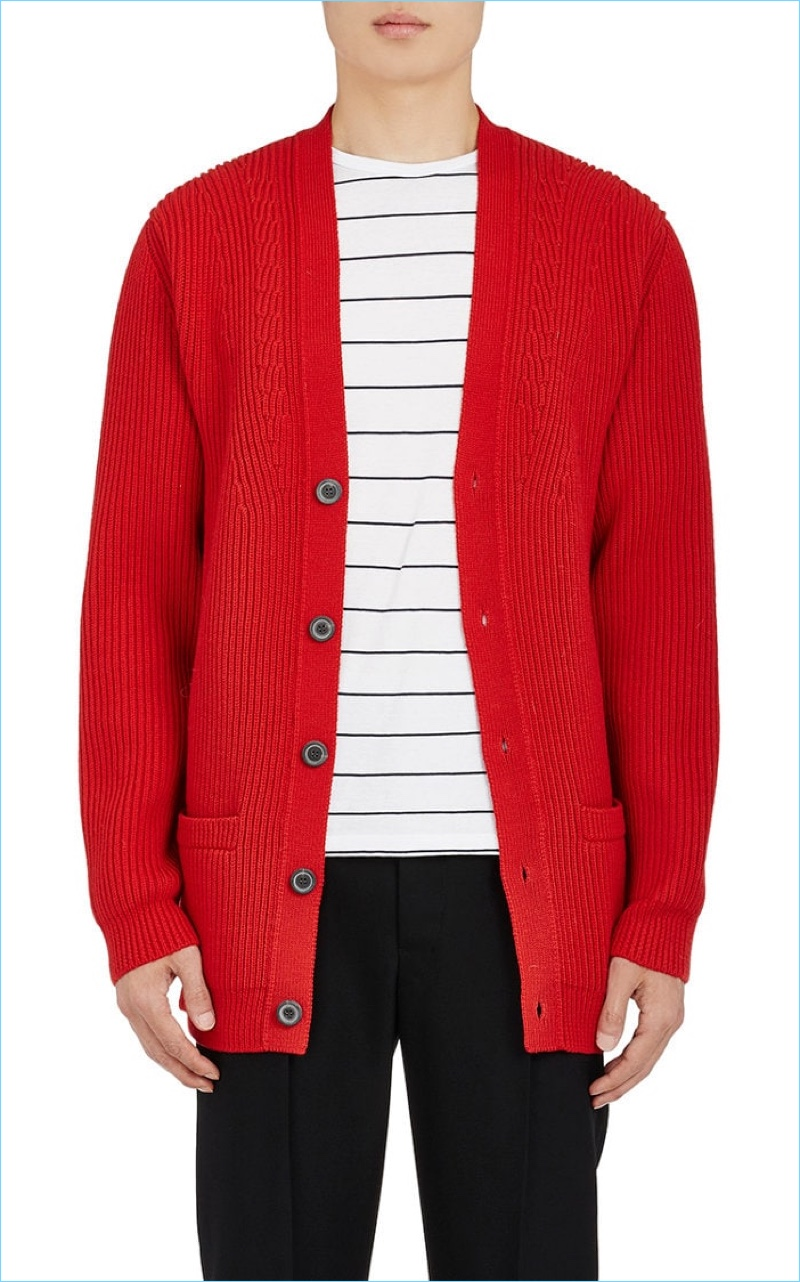 Lanvin Oversize Red Ribbed Mens Cardigan