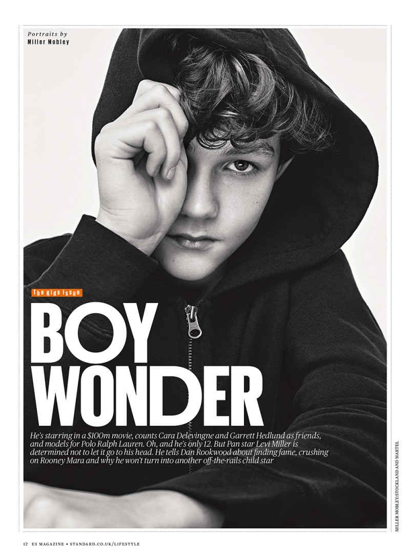 Levi Miller photographed for the Evening Standard.