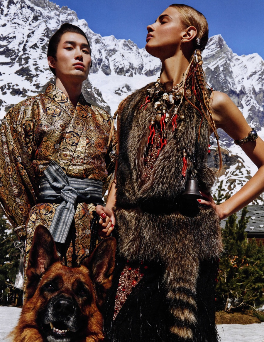 Noma Han Dons Furs + Wraps for Vogue Japan Shoot