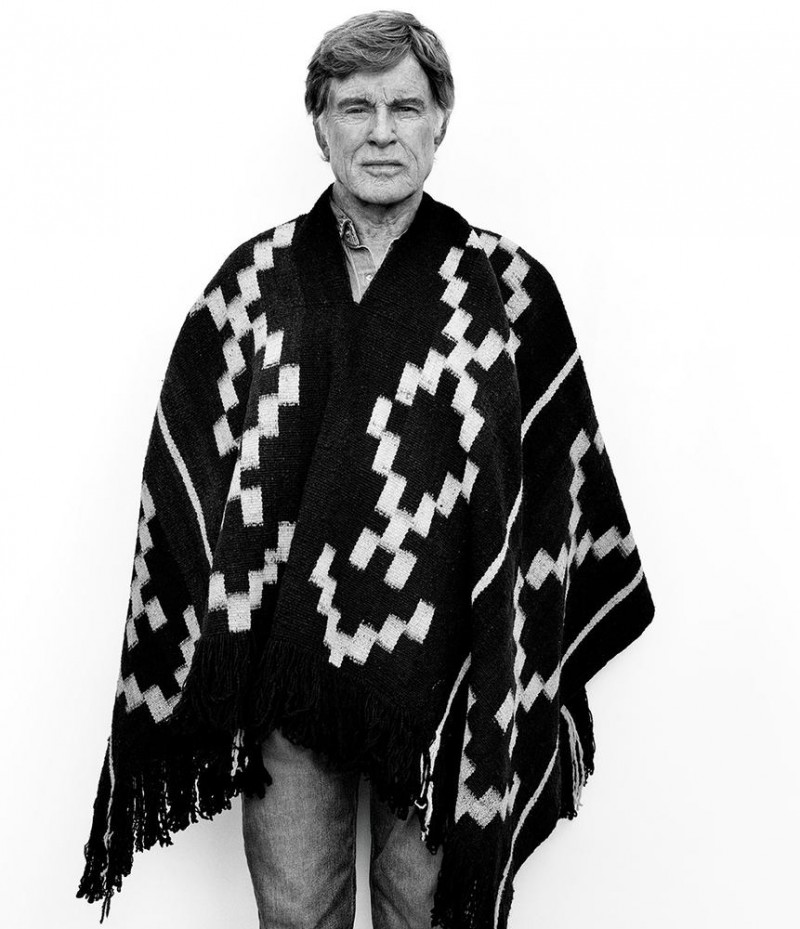 Robert Redford is front and center in a poncho.