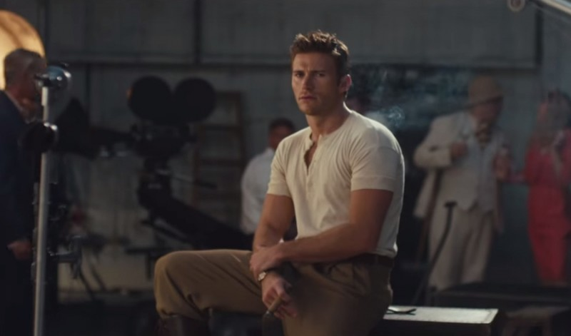 Captured on set, Scott Eastwood sports a short-sleeve, fitted henley.
