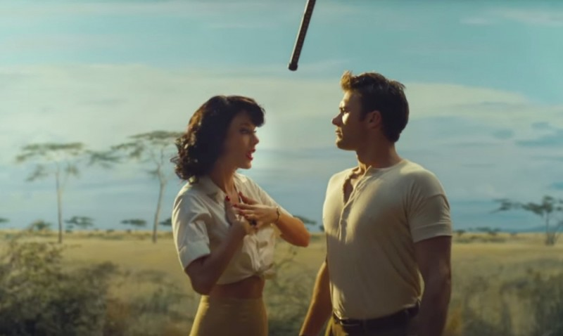Taylor Swift and Scott Eastwood film a dramatic scene for her Wildest Dreams music video.
