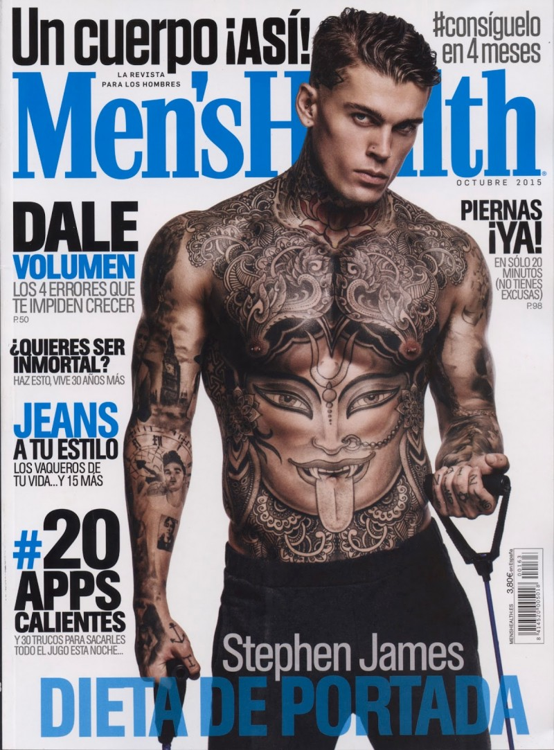 Photographed by Edu Garcia, model Stephen James covers the October 2015 issue of Men's Health España. Stephen goes shirtless, showcasing his amazing tattoos and sculpted physique.
