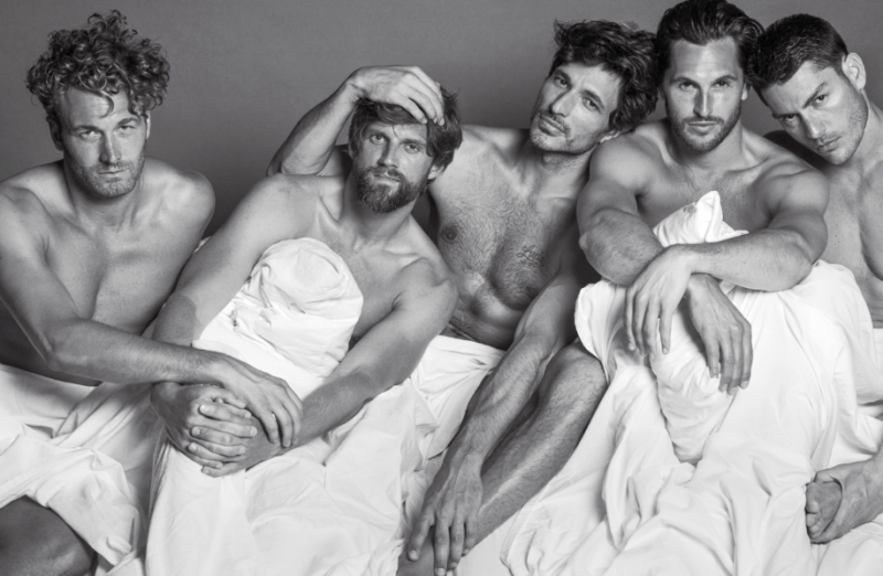 Brad Kroenig, RJ Rogenski, Andres Velencoso Segura, Jake Davies and Tyson Ballou hop into bed together for VMAN.