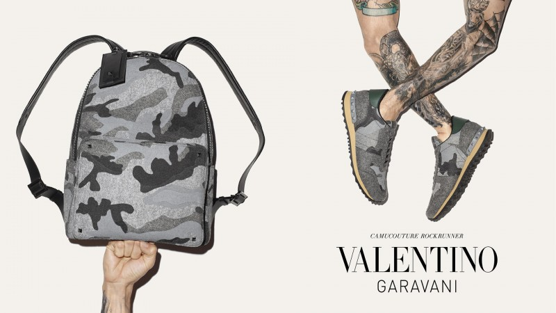 a94a390183 Valentino Fall/Winter 2015 Men's Accessories Campaign Highlights Camouflage  + Patchwork