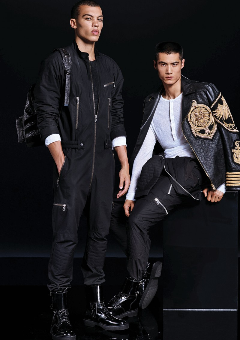 3ae3a787 Models Dudley O'Shaughnessy and Hao Yun Xiang for Balmain x H&M