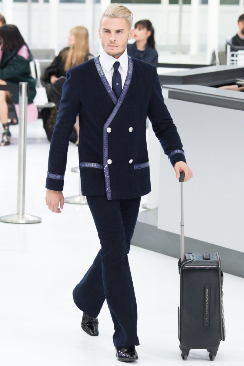 Baptiste Giabiconi hits the runway for Chanel's spring-summer 2016 show.
