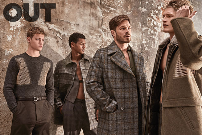 Rob Knighton, Tidiou M'Baye, Paul Sculfor and Harry Goodwins for Out magazine