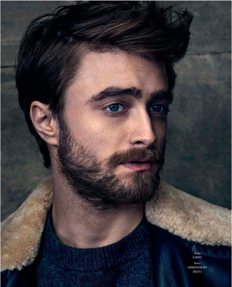 Daniel Radcliffe sports a shearling jacket.