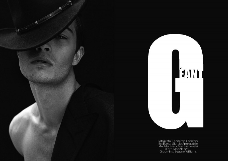 Donning a chic hat, Francisco Lachowski is photographed by Leonardo Corredor.