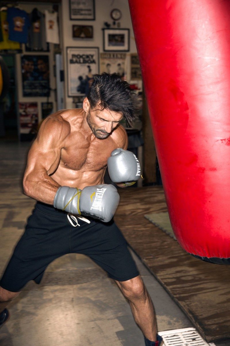 Frank Grillo works out for a Details shoot.