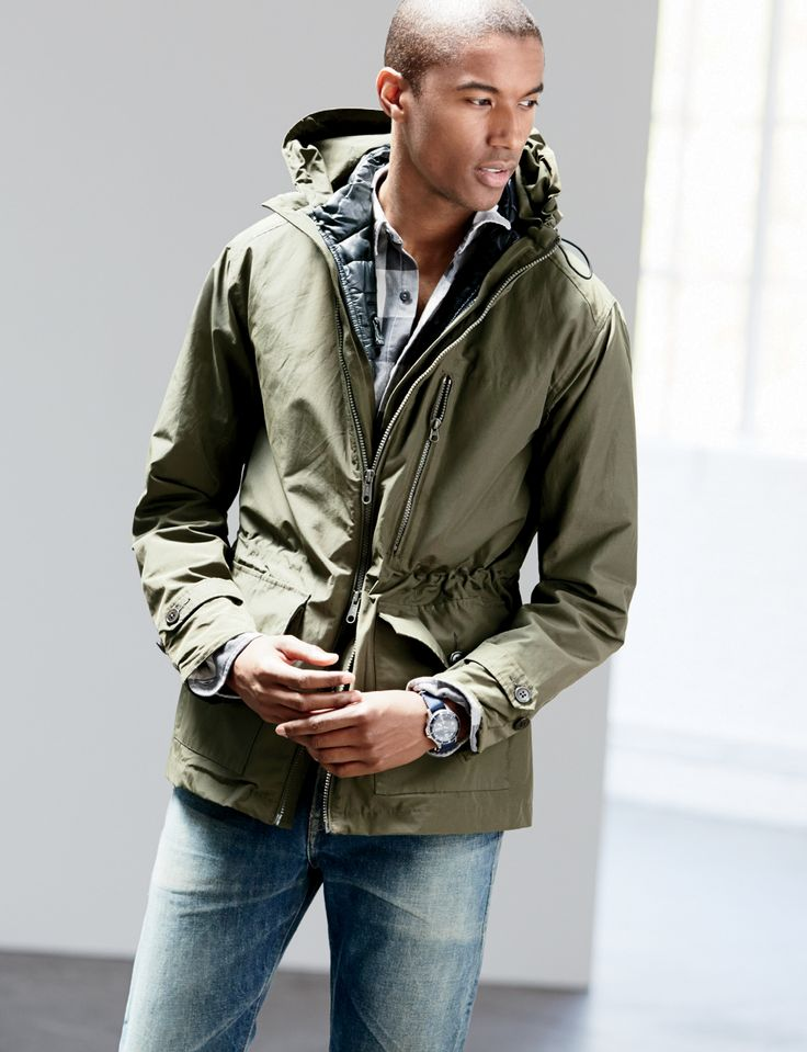 e332909f6285c Claudio Monteiro models J.Crew s hooded jacket in olive green.