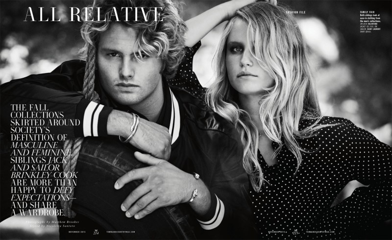 Christie Brinkley is the latest supermodel to have her children front and center with an entry into the modeling world. Jack and Sailor Brinkley-Cook star in a fall fashion editorial for the pages of Town & Country. The siblings are photographed by Matthew Brookes and styled by Nicoletta Santoro.