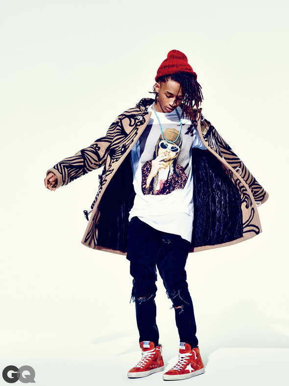Jaden Smith wears coat Louis Vuitton, t-shirt Urban Outfitters, jeans Topman, sneakers Golden Goose Deluxe Brand, beanie The Elder Statesman and necklaces Degs & Sal and Love Adorned.