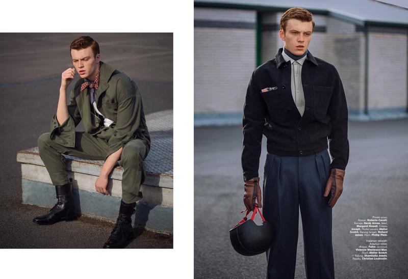 Jake Shortall Models Military-Inspired Styles for Harper's Bazaar Man