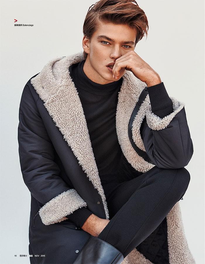 Jordan Barrett Tests Different Hairstyles for Harper's Bazaar China