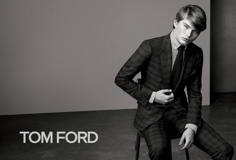 Australian model Jordan Barrett suits up for the fall-winter 2015 campaign of Tom Ford. For the black & white image, Jordan is photographed by Bjorn Iooss with styling by Michaela Dosamantes.