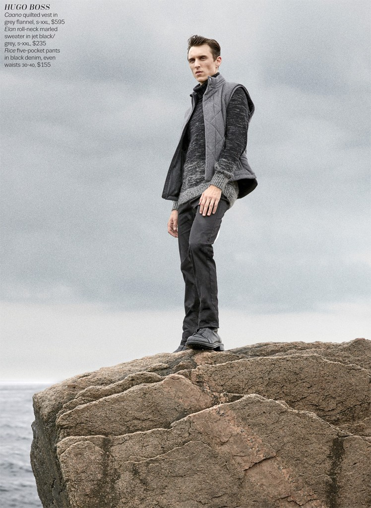 Thomas Gibbons sports a quilted men's vest from Hugo Boss.