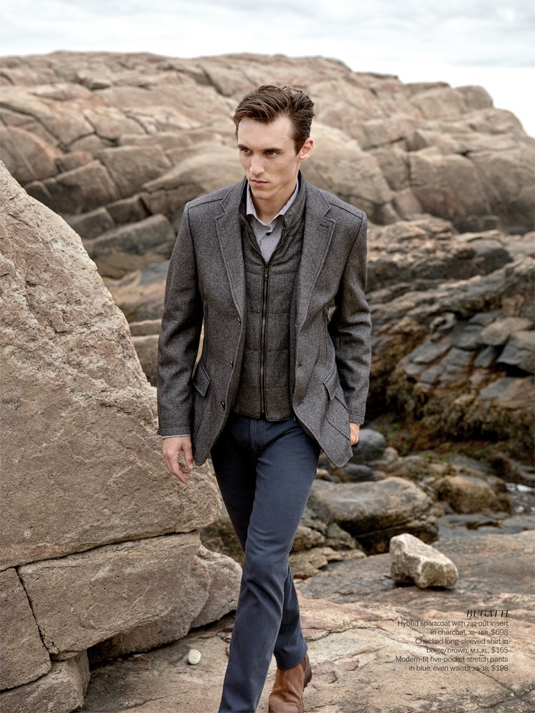Thomas Gibbons goes sporty in a Bugatti sports jacket with a zip-out inner.
