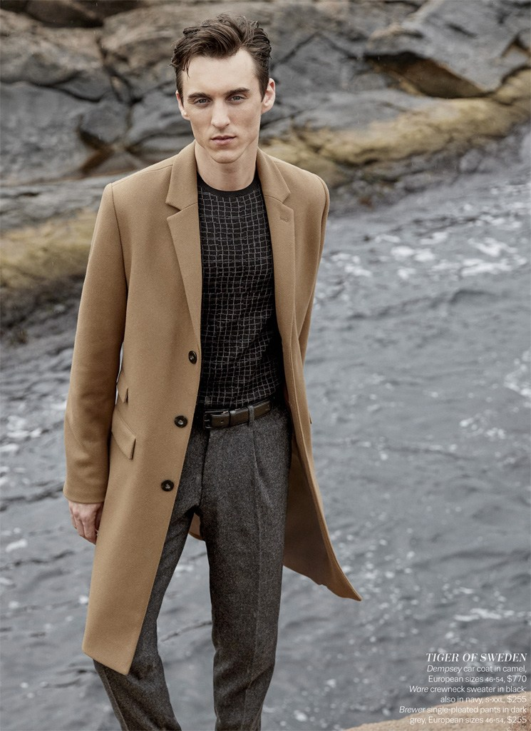 Thomas Gibbons has a camel coat moment in Tiger of Sweden.