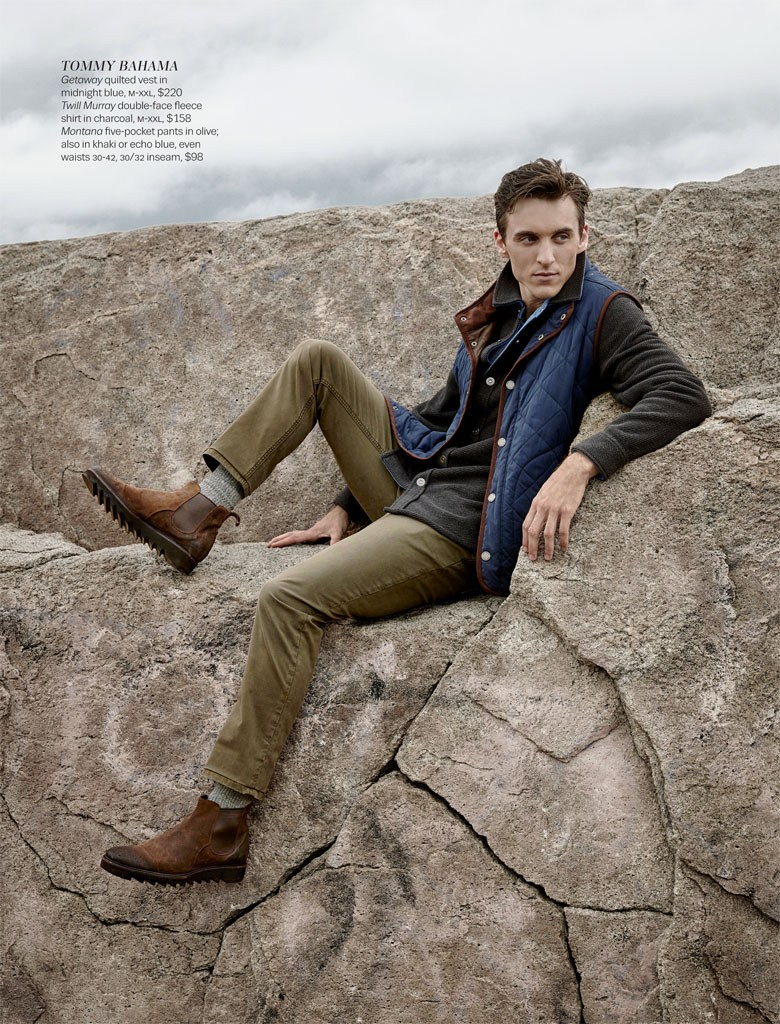 Thomas Gibbons relaxes in a Tommy Bahama quilted vest.