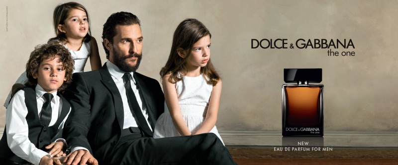 Matthew McConaughey poses with his kids for Dolce & Gabbana's The One fragrance campaign.