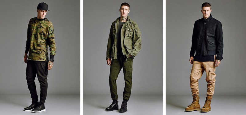 Military style mens fashion