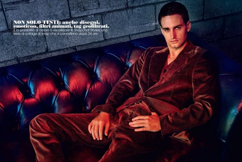 Evan Spiegel relaxes in a corduroy look from Bottega Veneta.