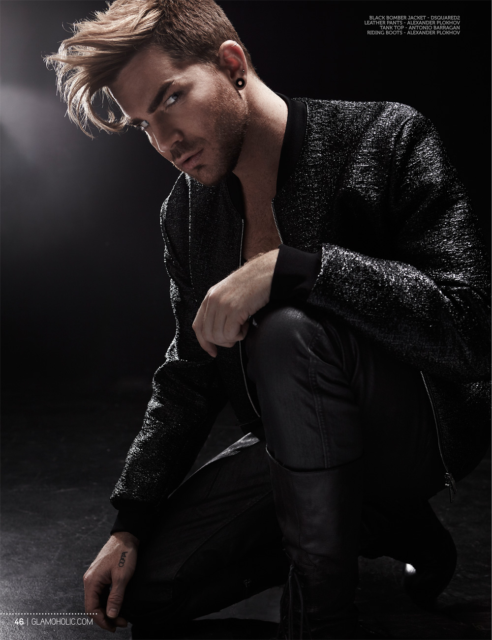 Adam Lambert Sports Dark Fashions for Glamoholic Shoot