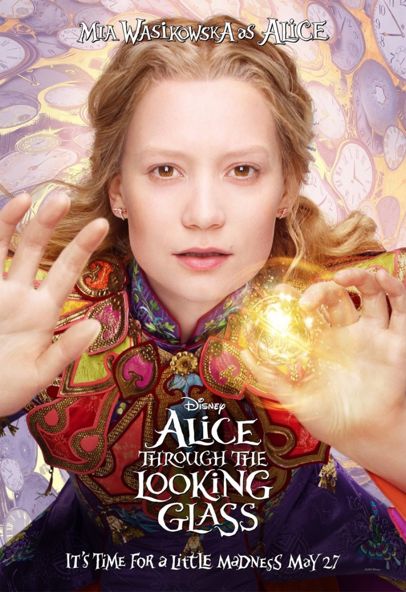 Alice Through the Looking Glass poster artwork featuring Mia Wasikowska as Alice