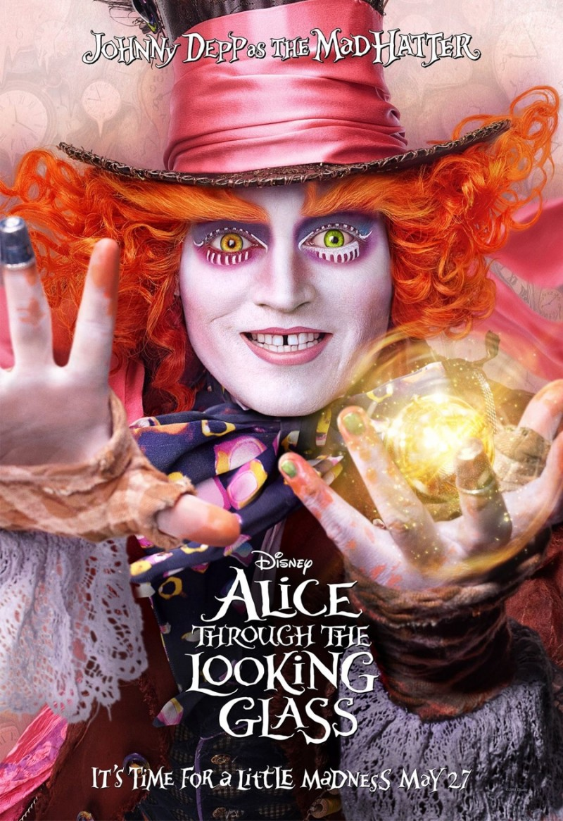 Alice Through the Looking Glass poster artwork featuring Johnny Depp as the Mad Hatter