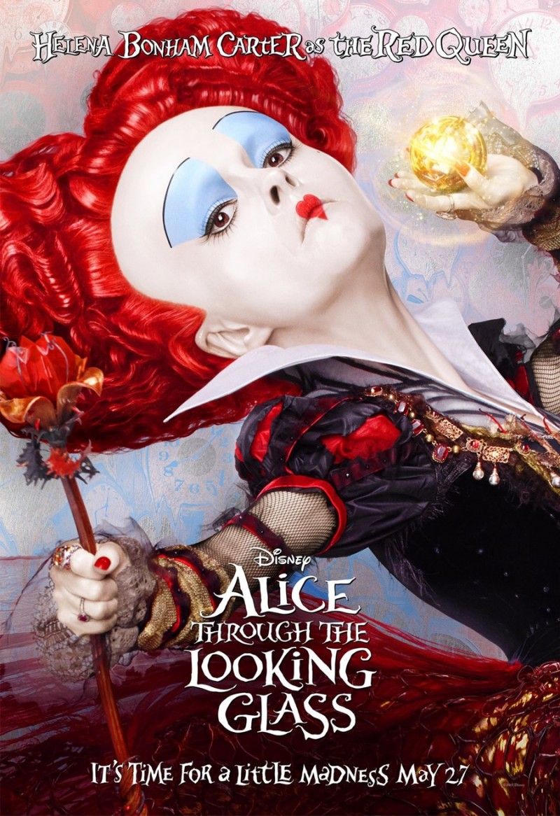 Alice Through the Looking Glass poster artwork featuring Helena Bonham Carter as the Red Queen