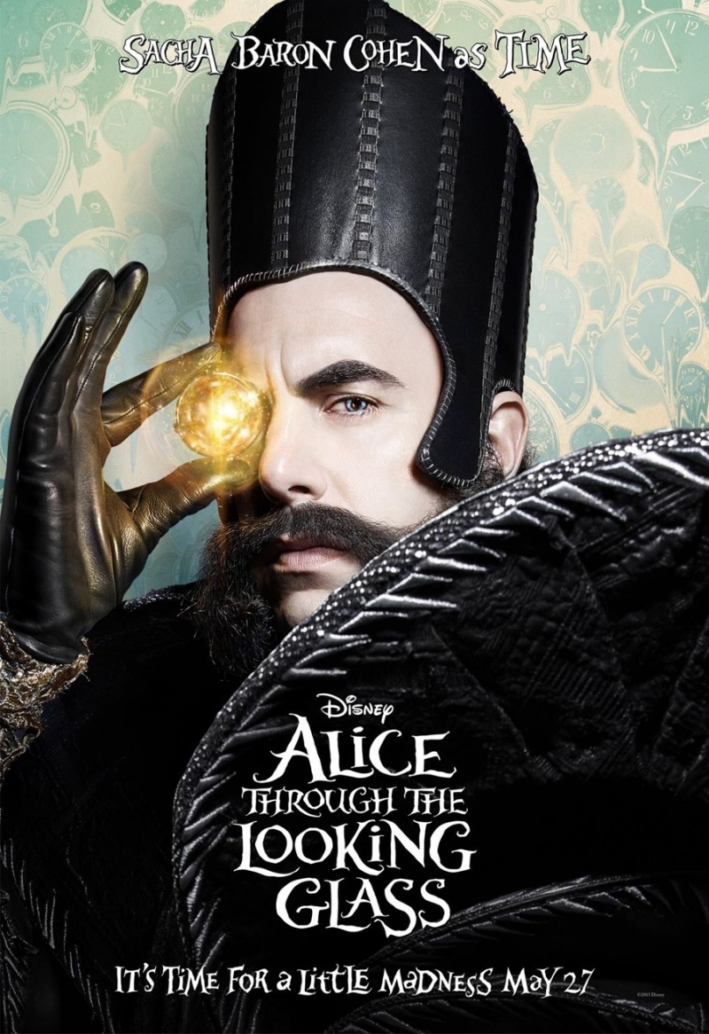 Alice Through the Looking Glass poster artwork featuring Sacha Baron Cohen as Time