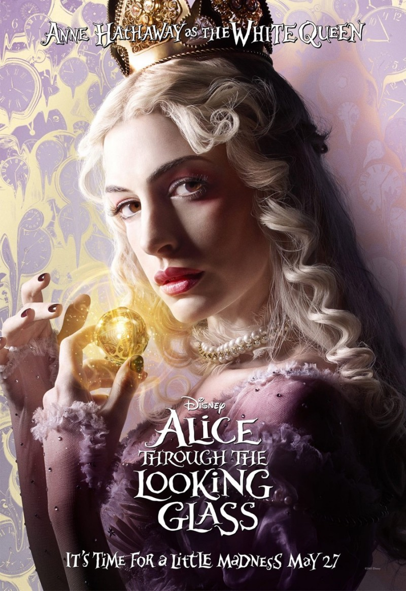 Alice Through the Looking Glass poster artwork featuring Anne Hathaway as the White Queen