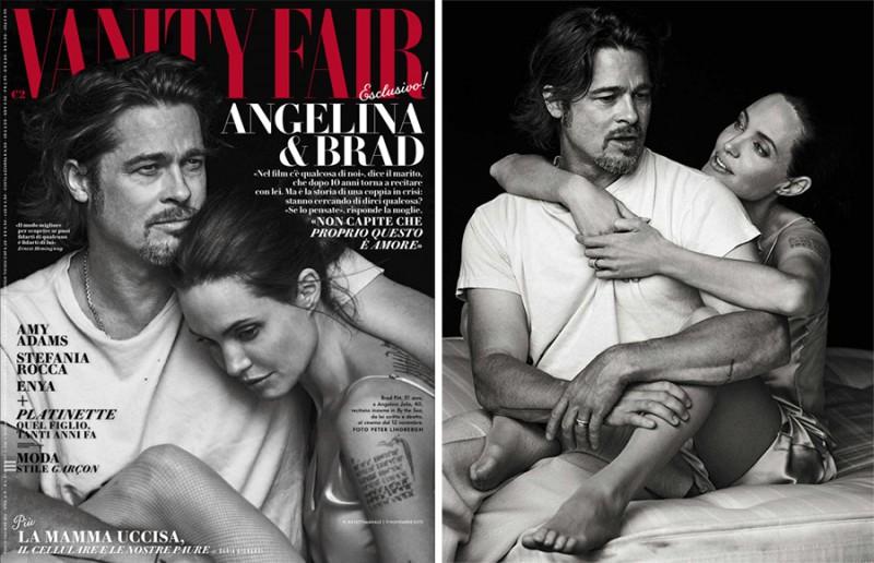 Brad Pitt and Angelina Jolie cover the November 2015 issue of Vanity Fair Italia