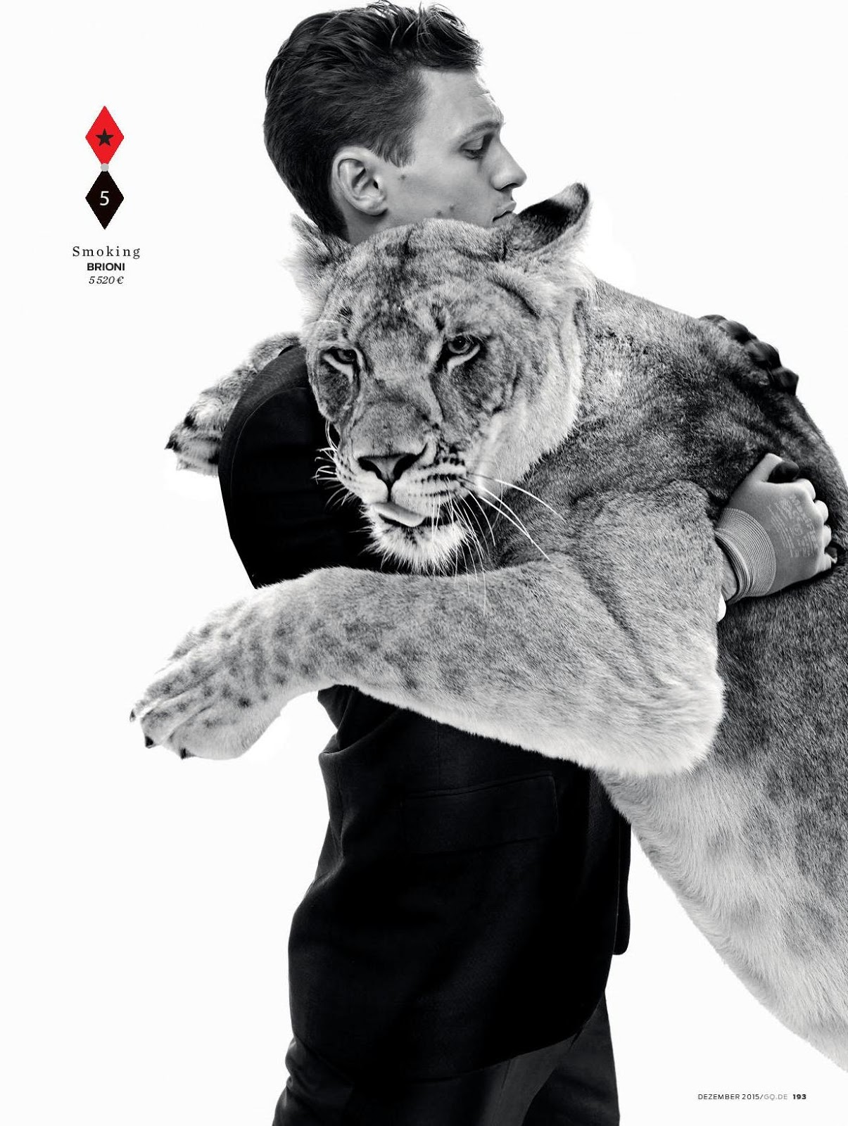 Wild Things: Caspar Oechsler Poses with Animals for GQ Germany